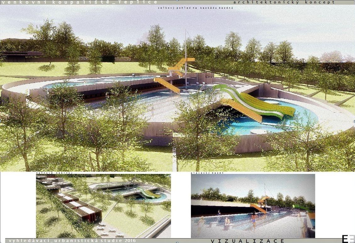 Vizualizace podoby nového venkovního koupaliště v Teplicích