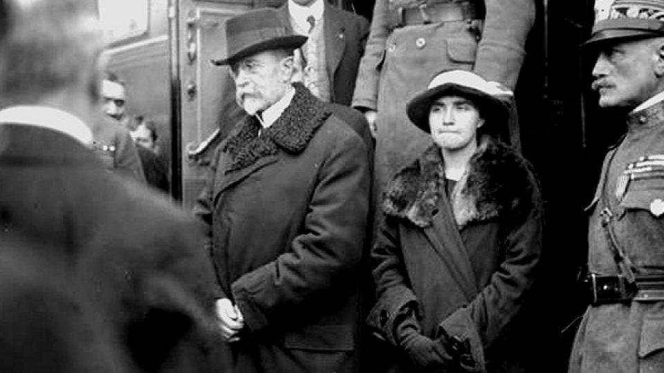 Masaryk s dcerou Olgou v Táboře, 1918