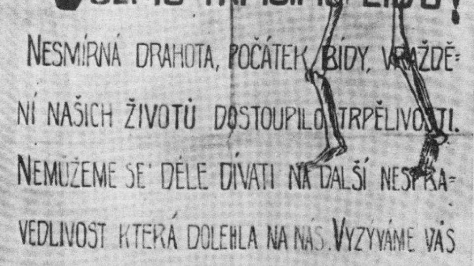 Leták proti bídě, hladu a válce (1918)