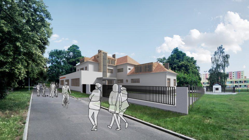 Živý dům v Trnovanech. Vizualizace přední strany po rekonstrukci