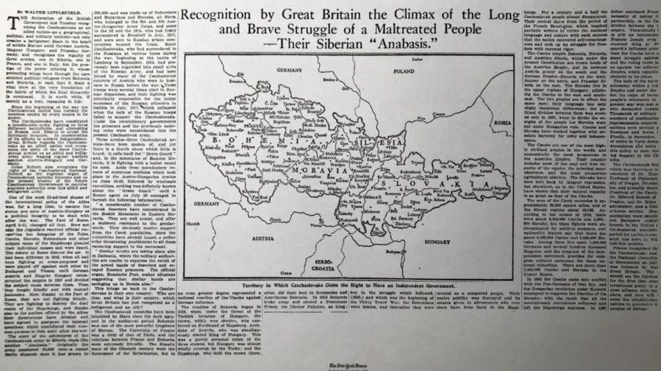 Deník New York Times přesně před sto lety, uprostřed srpna 1918, věnoval myšlence československého státu titulní článek středečního vydání, později v týdnu pak ještě dva dlouhé texty a otiskl i velkou mapu Československa.