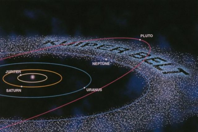 Kuiperův pás je plný rudých,  modrých a bílých těles   foto:  NASA