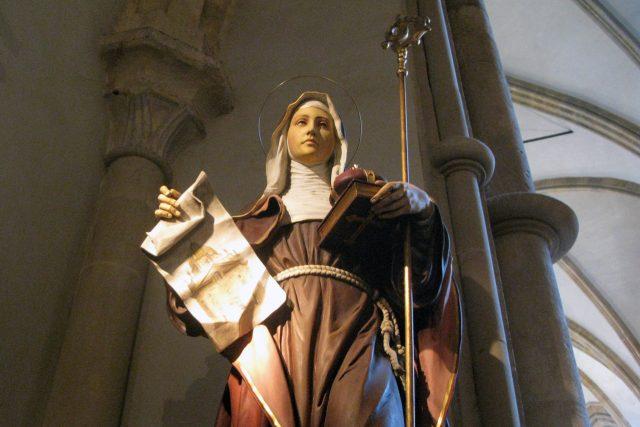 Jedna z podob sv. Anežky na výstavě Sv. Anežka Česká - princezna a řeholnice