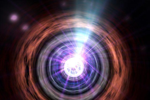 Umělecká představa aktivní galaxie