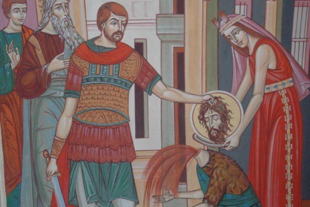 Stětí Jana Křtitele. Freska z jeskynního kostela kláštera Peştera v Rumunsku