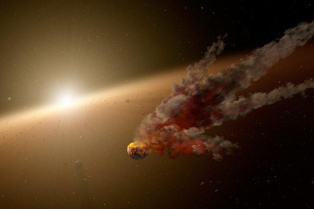 Znázornění vzniku planet díky kolizi asteroidu. Ilustrační obrázek