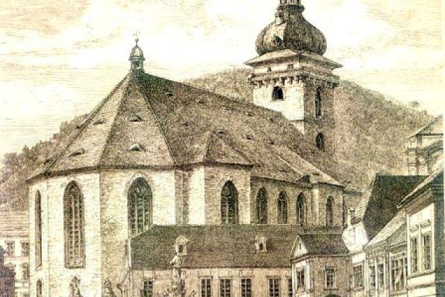 Děkanský kostel v Mostě-dobová fotografie