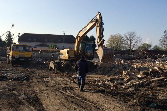 Demolice vybydlených domů v Litvínově