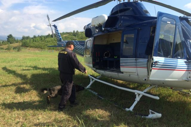 U jezera Matylda nacvičují kynologové se psy nástup a výstup do vrtulníku i samotný let | foto: Jan  Beneš