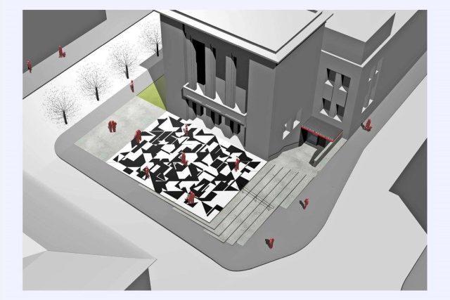 Vizualizace k piazettě před Vrchlického divadlem v Lounech
