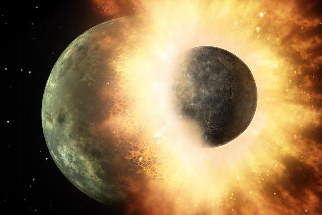 Umělecká představa kolize mezi dvěma planetami. Podobná kolize Země s planetou o velikosti Marsu dala pravděpodobně vzniknout Měsíci