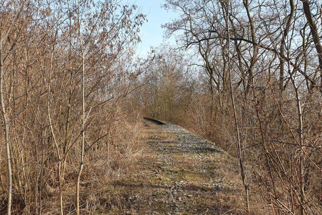 Trať z Lovosic do Teplic v místě, kde ji poškodil sesuv