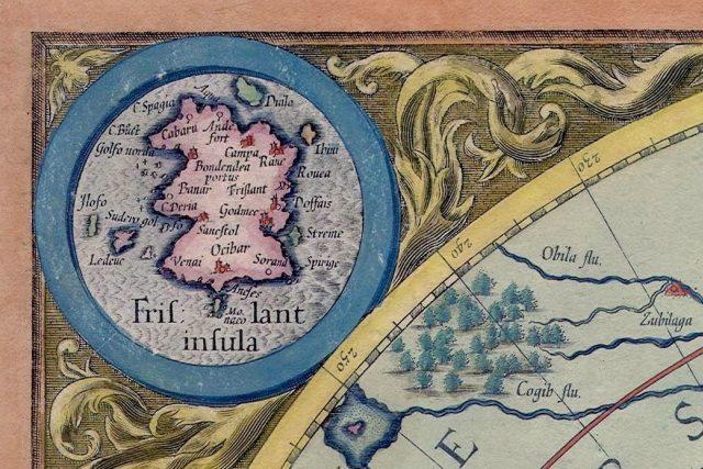 Frisland ve výřezu z mapy severního pólu slavného kartografa Mercatora z roku 1623