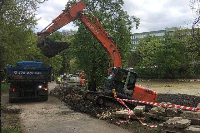 Odbahnění Dolního rybníka v Zámecké zahradě v Teplicích a následné úpravy potrvají do srpna